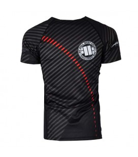 Rashguard Pit Bull  model STRIPES RED krótki rękaw