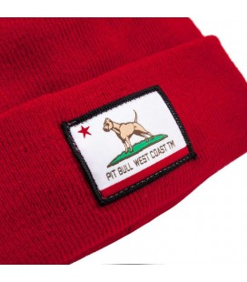 Czapka zimowa Pit Bull model California Dog kolor czerwony
