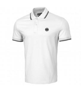 Koszulka polo Pit Bull model Slim Stripes Logo biała
