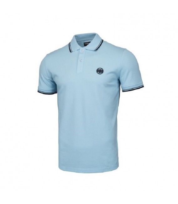 Koszulka polo Pit Bull model Slim Stripes Logo błękitna
