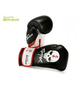 Rękawice bokserskie marki Sphinx model BlackStorm Skull - czarne