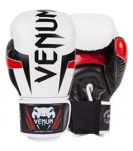 Rękawice bokserskie Venum Elite biało - czarno- czerwone
